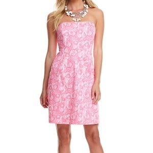 Vineyard Vines Pink Shell Print Strapless Dress